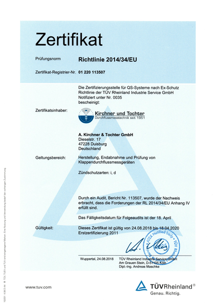Überwachungsaudit Ex-Schutz Richtlinie 2014/34/EU