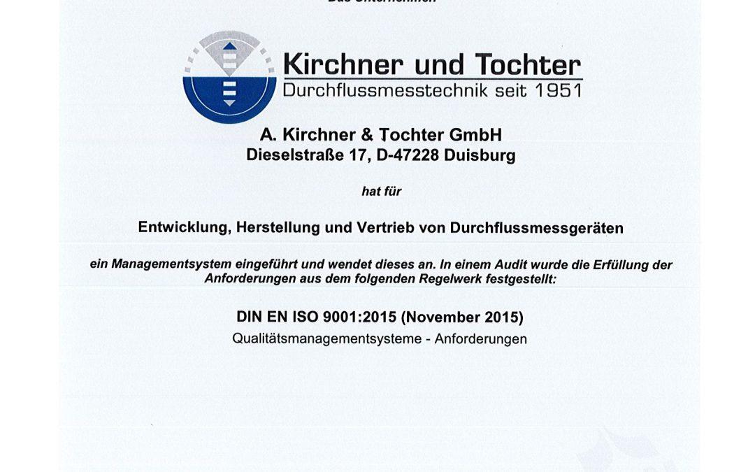 Rezertifizierung DIN ISO 9001:2015