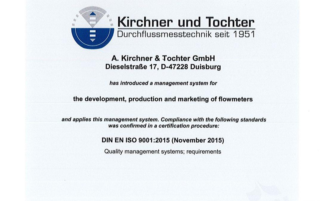 Recertification DIN ISO 9001:2015